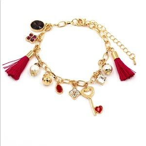 Fashion red heart shaped key tassel bracelet